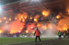 Brøndby fans celebrate club's birthday by virtually setting the ground alight