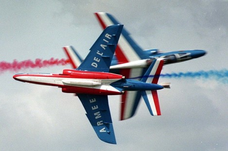 File photo of a French air corps Alpha Jet in a display.