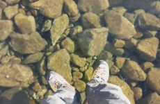 Walking on Water: Hikers discover the clearest ice on a frozen lake
