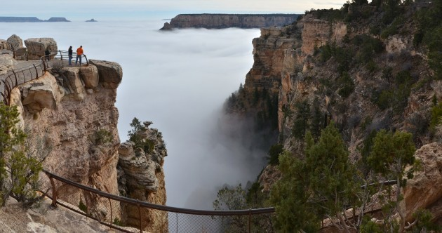 The Grand Canyon filled with fog is simply magical looking