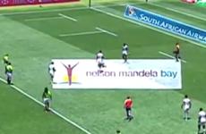 US sevens player gets tackled by pitch invader, but gets revenge with a massive toe-bog