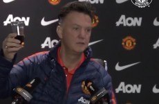 Van Gaal gets into the festive spirit and raises a glass to his 'friends of the media'