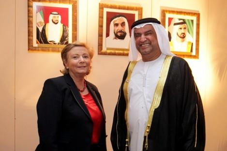 Former UAE ambassador Khalid Nasser Rashed Lootah with Justice Minister Frances Fitzgerald in 2012