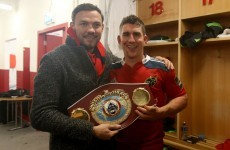 After beating Leinster, the Munster players got their hands on Andy Lee's world title