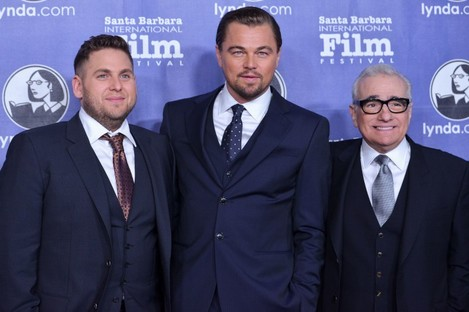 Jonah Hill, Leonardo DiCaprio, and director Martin Scorsese arrive at 2014 Santa Barbara International Film Festival in February to promote The Wolf of Wall Street.