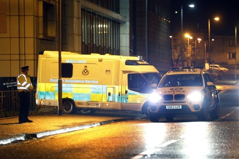 The nurse is moved from a hospital in Glasgow ahead of being flown to London on Tuesday.