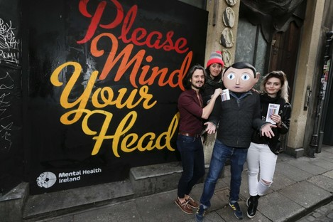 Launching the First Fortnight mental health arts festival were Frank, from Lenny Abrahamson's acclaimed movie 'Frank', musician Conall Ó Breacháin (We Cut Corners), actress & musician Tara Lee (The Fall) and comedian Eleanor Tiernan.