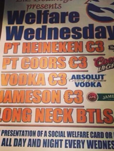 Dublin pub begins 'Welfare Wednesday' drink deals