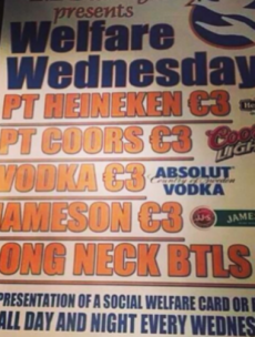 There will be no Welfare Wednesday drinks tonight