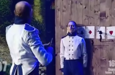 World's worst knife thrower hits his assistant TWICE on live TV
