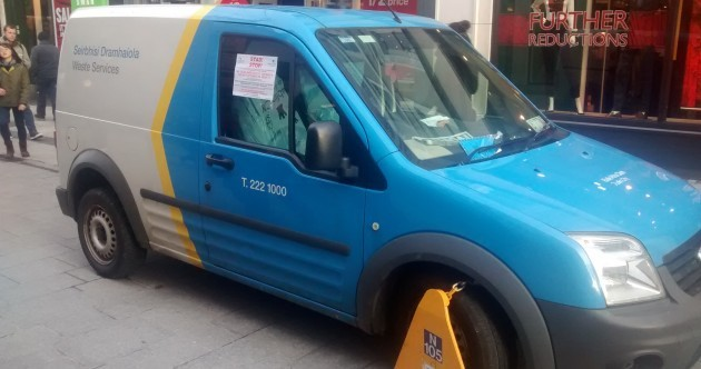 A Dublin City Council van was clamped on Grafton Street today