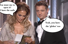 Jeremy Renner actually went and made a moronic 'Golden Globes' boob joke