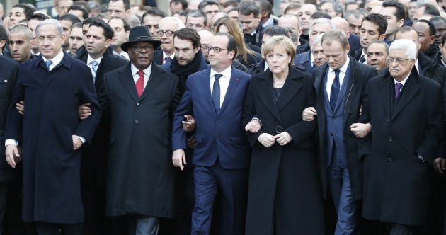 A Jewish newspaper has photoshopped Angela Merkel out of this Charlie Hebdo march