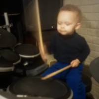 Two-year-old drums along to the Foo Fighters, is more musically talented than you