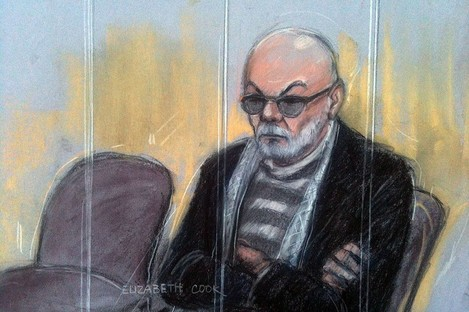 Court artist sketch by Elizabeth Cook of Gary Glitter appearing at Southwark Crown Court in London, where he is accused of a string of historic sex offences against three girls.