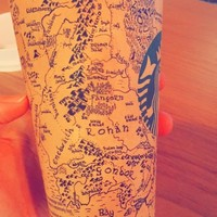 Somebody actually drew Middle-Earth on a Starbucks cup, and it's ridiculously impressive