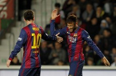 Messi and Neymar take one-twos to another level as Barca hit Elche for 6