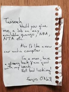 Irish man takes advantage of Michael Lowry's 'lovely lady' note, writes to Enda
