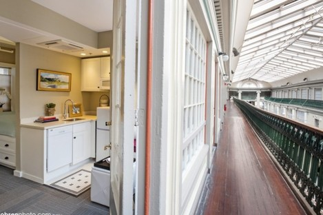 The apartments open directly onto the first and second floor verandahs