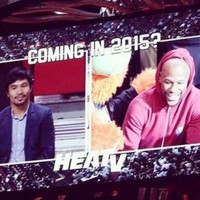 Mayweather and Pacquiao met for the first time last night at an NBA game