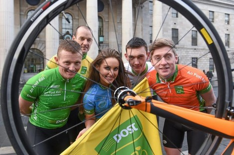 Shaw (left) with model Rozanna Purcell, David McCann, former Rás winner, Sean McKenna and Eoin Morton at the launch of the 2015 An Post Rás.