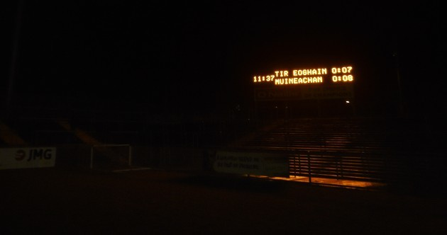 It's pitch black in Omagh as the lights go out during Tyrone vs Monaghan