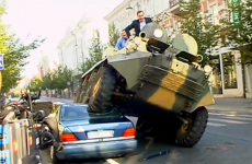 WATCH: Mayor of Lithuanian capital drives tank over double-parked Mercedes