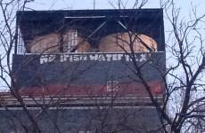 'No Irish Water Tax' graffiti on New York building