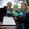 18-month-old boy hands in petition with 65,000 signatures to Leinster House