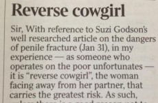Surgeon writes excellent letter to the Times disputing most dangerous sex position