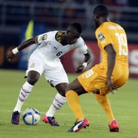 An Ivory Coast and a Ghana player made a mess of headbutting each other in the AFCON final