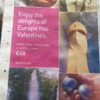 This smutty Valentine's ad from a travel website is terrifically unsubtle