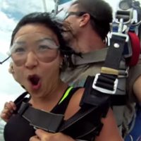 Watch the incredible moment skydivers were almost hit by a plane