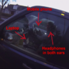 Video shows driver using phone and wearing headphones ... with his laptop open