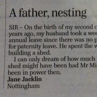 This letter to the Telegraph on paternity leave is rather excellent