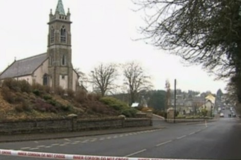 The shooting took place outside this church at lunchtime.