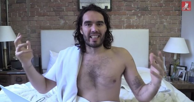 Russell Brand feels so strongly about the Jobstown arrests he can't even keep his towel on