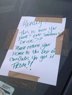 Someone in Dun Laoghaire REALLY doesn't tolerate bad parkers