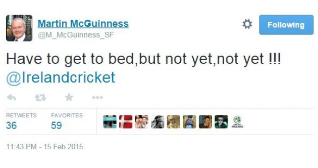 Martin McGuinness was live-tweeting the cricket last night. He thinks it's a great game altogether