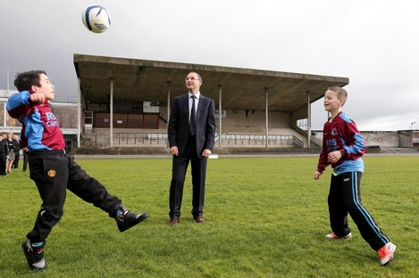 Ireland manager Matin O'Neill visiting Markets Field redevelopment project last year.