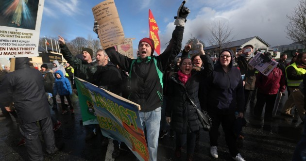 Some protesters gathered outside the Fine Gael conference - and a journalist was asked to leave