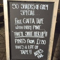 Pub faces backlash for 'misogynistic' Fifty Shades of Grey gaffa tape joke
