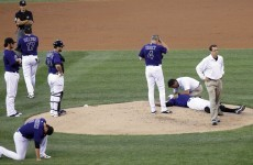 Rockies pitcher knocked out by baseball