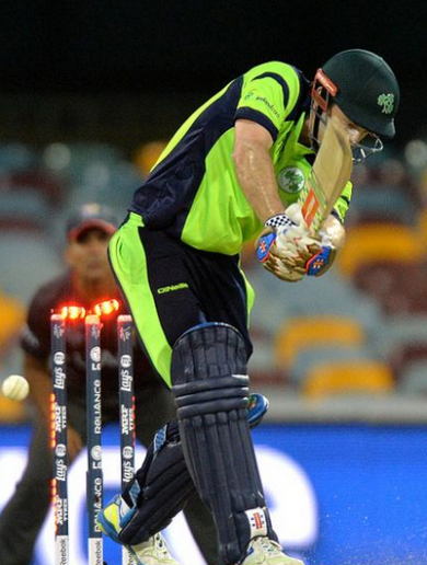 Luck of the Irish as ball hits the stumps but bails don't fall off