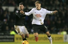 Ireland's Jeff Hendrick scores one and makes another as Derby edge closer to promotion