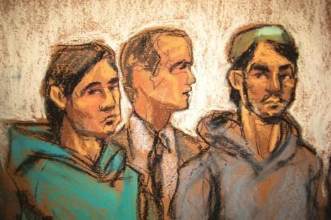 In this courtroom drawing, defendant Akhror Saidakmetov, left; an interpreter, center; and defendant Abdurasul Hasanovich Juraboev