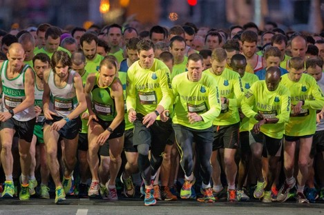 Runners at the start line for last year's Samsung Night Run.