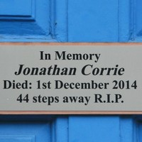 'An insult': Jonathan Corrie plaque removed from doorway where he died