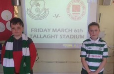 These 6th class students have a little wager on the Rovers v Pat's league opener