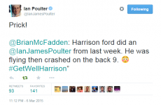 Ian Poulter doesn't take kindly to Brian McFadden's Harrison Ford joke